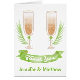 De groene Waterverf dankt u de Glazen van de Wijn Briefkaarten 0