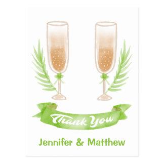 De groene Waterverf dankt u het Huwelijk van de Briefkaart