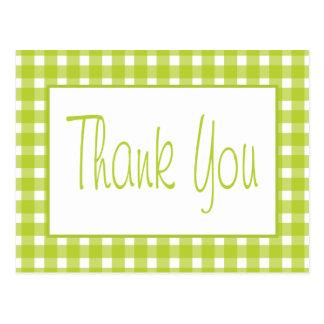 De groene, Witte Plaid van de Gingang dankt u de Briefkaart