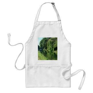 De groene zonnige gang van de de bomenrivier van standaard schort