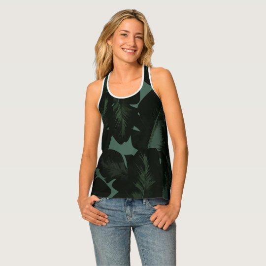 De groene & Zwarte Elegante Tropische Druk van het Tanktop