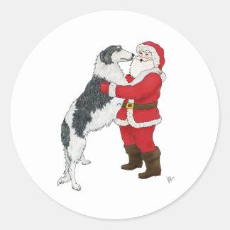 De Groet van Kerstmis van Borzoi Ronde Sticker