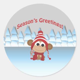 De Groeten van het seizoen!  Aap Ronde Sticker