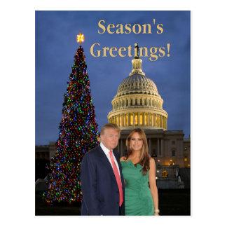 De Groeten van het seizoen van Donald en Melania Briefkaart
