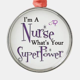De Grootmacht van de verpleegster Zilverkleurig Rond Ornament