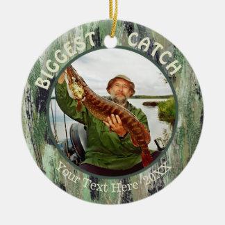 De GROOTSTE VANGST van de visserij, Foto Twee Rond Keramisch Ornament