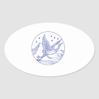 De grote Blauwe MonoLijn van de Cirkel van de Ovale Sticker