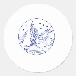 De grote Blauwe MonoLijn van de Cirkel van de Ronde Sticker