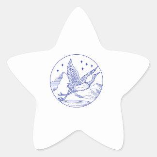 De grote Blauwe MonoLijn van de Cirkel van de Ster Sticker