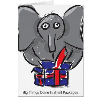 De grote Dingen komen in Kleine Pakketten Wenskaart