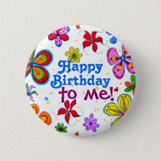 De grote Gelukkige Verjaardag van Bloemen aan me Ronde Button 5,7 Cm