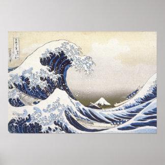 De grote Golf door Hokusai Poster