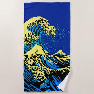 De grote Golf Hokusai in de Blauwe Gele Stijl van Strandlaken