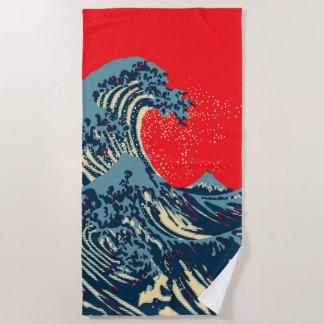 De grote Golf Hokusai in de Trillende Stijl van de Strandlaken