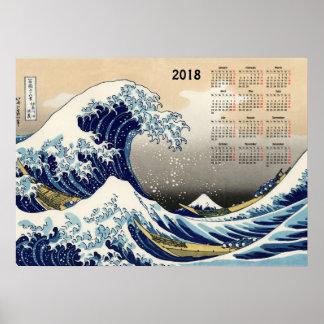 De grote Golf van de kalender van Kanagawa 2018 Poster