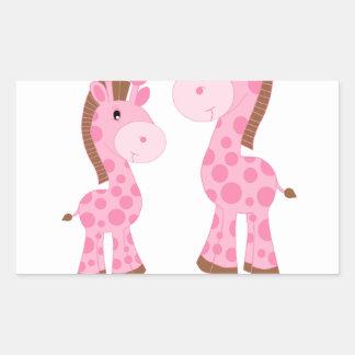 De grote Roze en Bruine Giraffen van de Zuster Rechthoekvormige Stickers