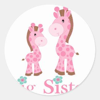 De grote Roze en Bruine Giraffen van de Zuster Ronde Stickers