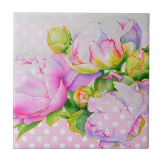 De grote roze en witte stippen van de Pioen Keramisch Tegeltje