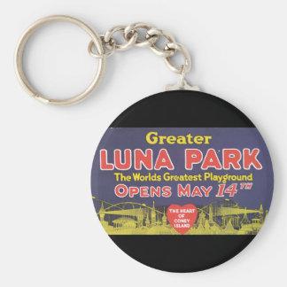 De grotere Luna Reis van Island_Vintage van het Basic Ronde Button Sleutelhanger