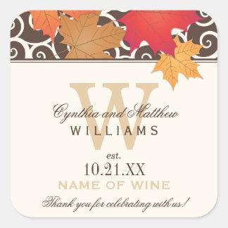 De Gunst van de Fles van de Wijn van het huwelijk Vierkante Sticker