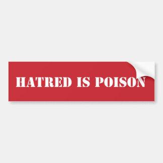 De haat is de stencil van het Vergift Bumpersticker