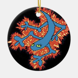 De Hagedis van de brand Rond Keramisch Ornament