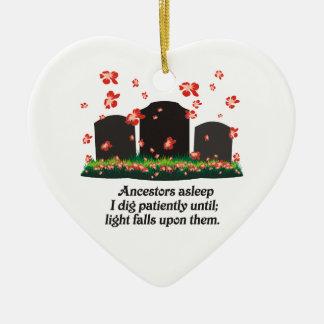 De Haiku's van de genealogie Keramisch Hart Ornament