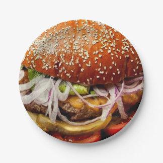 de hamburgercheeseburger van het grill papieren bordje