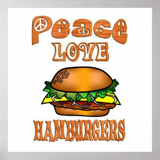 De Hamburgers van de Liefde van de vrede Poster
