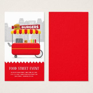 De hamburgers van de straatburgers van het voedsel visitekaartjes
