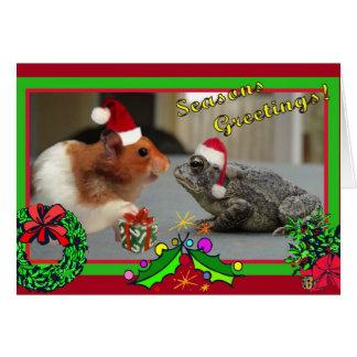 De hamster en de Pad vieren Kerstmis Kaart