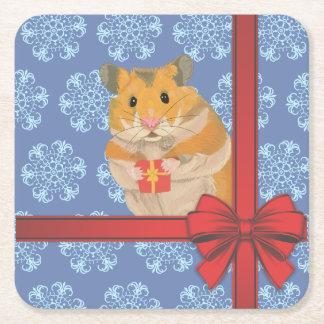 De Hamster van Kerstmis van sneeuwvlokken Vierkante Onderzetter