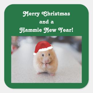 De Hamster van Kerstmis Vierkant Sticker