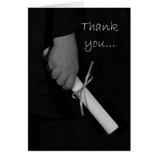 De hand die een Diploma, Afstuderen houdt dankt u Wenskaart
