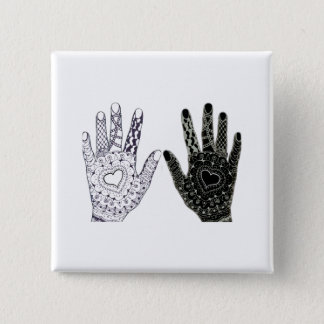 De hand Getrokken Handen van Doodled van het Hart Vierkante Button 5,1 Cm