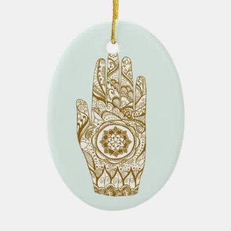 De Hand Lotus van de henna Keramisch Ovaal Ornament