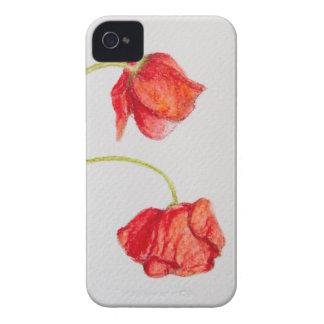 De hand schilderde rode papaversbloemen iPhone 4 hoesje