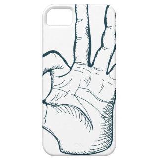 De hand trekt teken van de schets het vintage o.k. barely there iPhone 5 hoesje