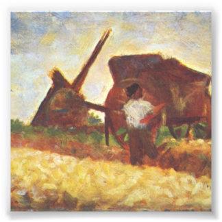 De handarbeiders door Georges Seurat Foto Afdruk