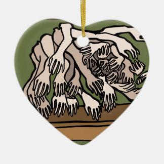 De Handen van de ledenpop Keramisch Hart Ornament