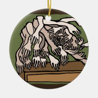 De Handen van de ledenpop Rond Keramisch Ornament