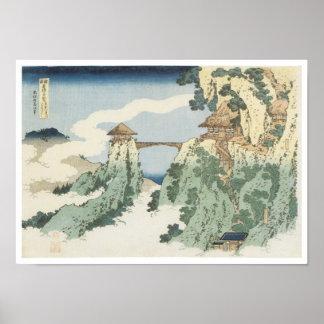 De hangende Brug van de Wolk, Hokusai, 1834 Poster