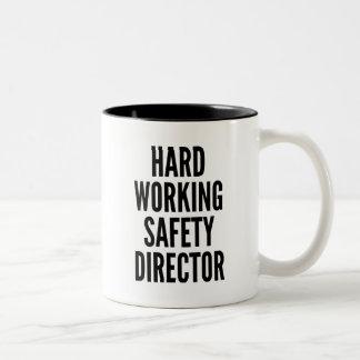 De harde Werkende Directeur van de Veiligheid Tweekleurige Koffiemok
