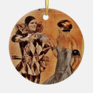 De Harlekijn en de Vin van Carnaval (Keulen) Rond Keramisch Ornament