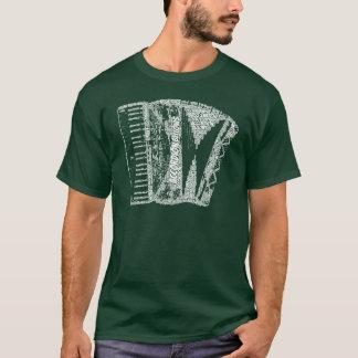 De harmonika Gevormde Witte Tekst van de Kunst van T Shirt
