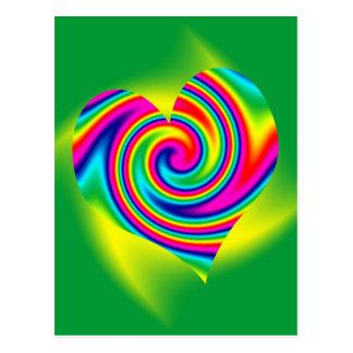 De hart Gestalte gegeven Draai van de Regenboog Briefkaart