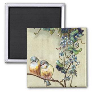 De hartelijke Vintage Vogels van Gelukwensen Vierkante Magneet