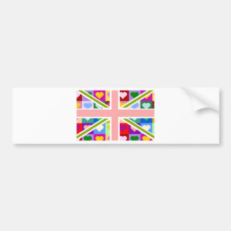 De Harten Union Jack van Girly Bumpersticker
