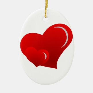 De Harten van Applique Keramisch Ovaal Ornament