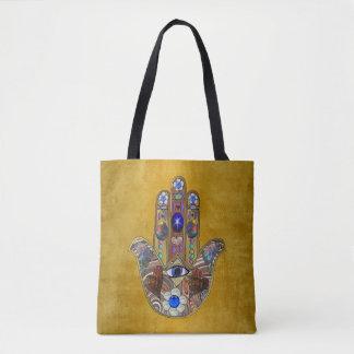 De Harten van Hamsa bloeit Opalen Kunst op Goud Draagtas